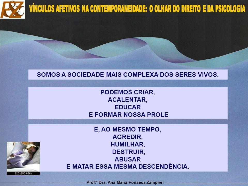 Prof.ª Dra. Ana Maria Fonseca Zampieri E, AO MESMO TEMPO, AGREDIR, HUMILHAR, DESTRUIR, ABUSAR E MATAR ESSA MESMA DESCENDÊNCIA. SOMOS A SOCIEDADE MAIS