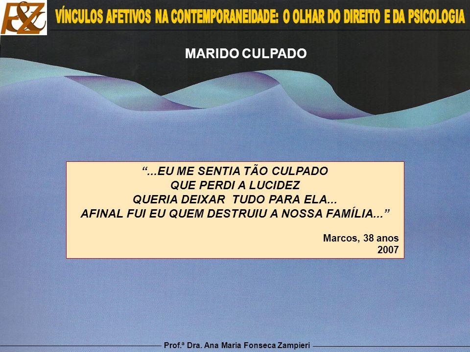 Prof.ª Dra. Ana Maria Fonseca Zampieri MARIDO CULPADO...EU ME SENTIA TÃO CULPADO QUE PERDI A LUCIDEZ QUERIA DEIXAR TUDO PARA ELA... AFINAL FUI EU QUEM