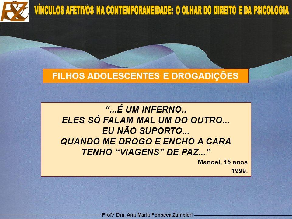 Prof.ª Dra. Ana Maria Fonseca Zampieri FILHOS ADOLESCENTES E DROGADIÇÕES...É UM INFERNO.. ELES SÓ FALAM MAL UM DO OUTRO... EU NÃO SUPORTO... QUANDO ME