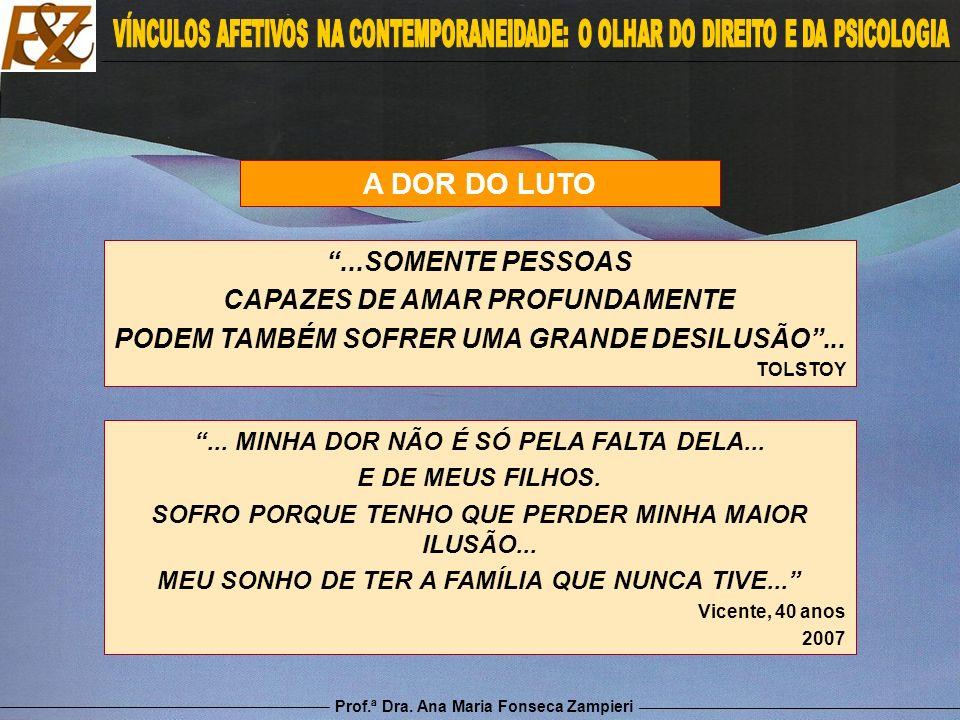 Prof.ª Dra. Ana Maria Fonseca Zampieri A DOR DO LUTO...SOMENTE PESSOAS CAPAZES DE AMAR PROFUNDAMENTE PODEM TAMBÉM SOFRER UMA GRANDE DESILUSÃO... TOLST