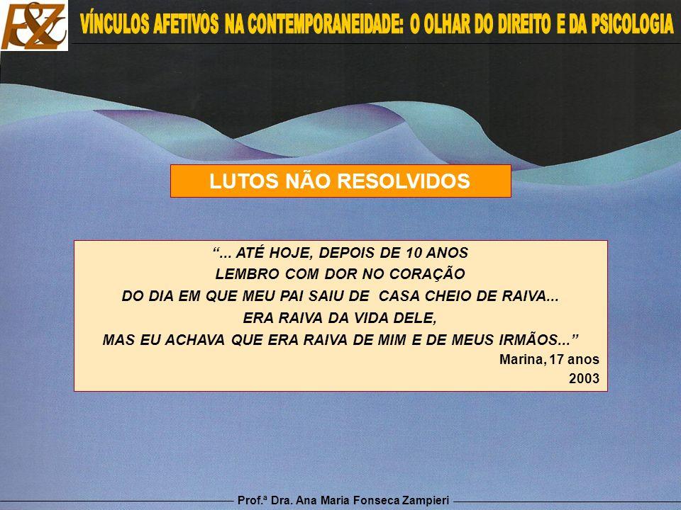 Prof.ª Dra. Ana Maria Fonseca Zampieri LUTOS NÃO RESOLVIDOS... ATÉ HOJE, DEPOIS DE 10 ANOS LEMBRO COM DOR NO CORAÇÃO DO DIA EM QUE MEU PAI SAIU DE CAS
