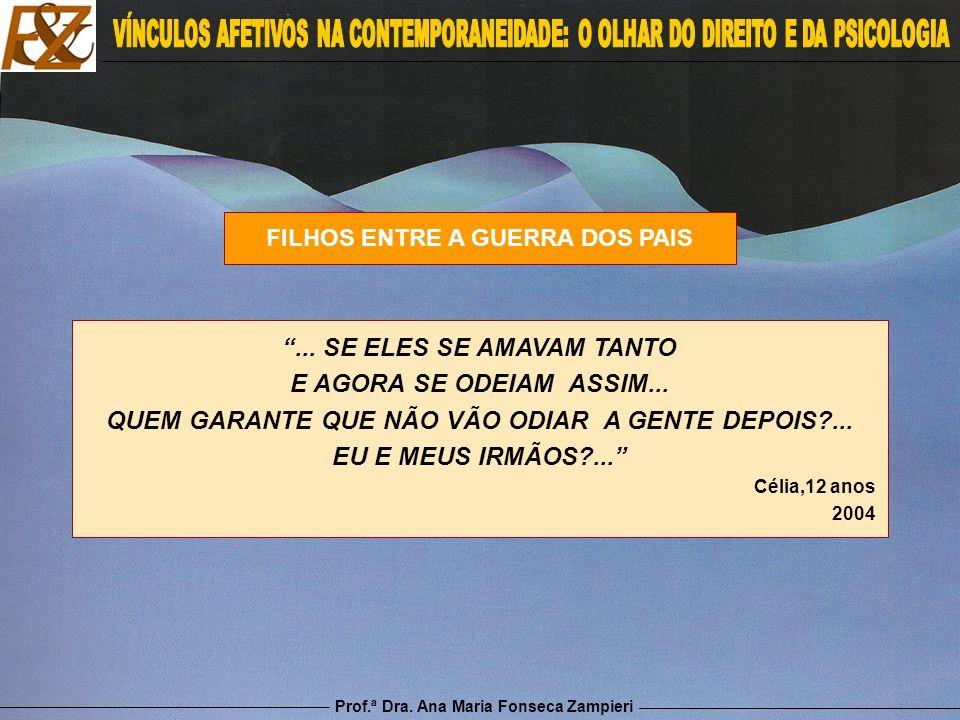 Prof.ª Dra. Ana Maria Fonseca Zampieri FILHOS ENTRE A GUERRA DOS PAIS... SE ELES SE AMAVAM TANTO E AGORA SE ODEIAM ASSIM... QUEM GARANTE QUE NÃO VÃO O