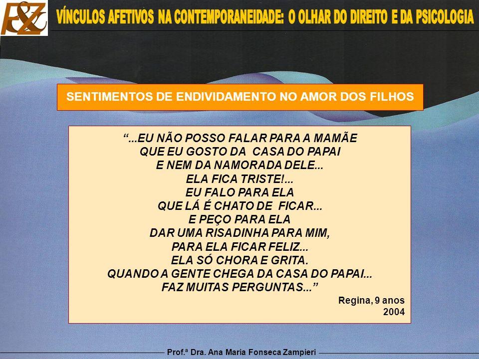 Prof.ª Dra. Ana Maria Fonseca Zampieri SENTIMENTOS DE ENDIVIDAMENTO NO AMOR DOS FILHOS...EU NÃO POSSO FALAR PARA A MAMÃE QUE EU GOSTO DA CASA DO PAPAI