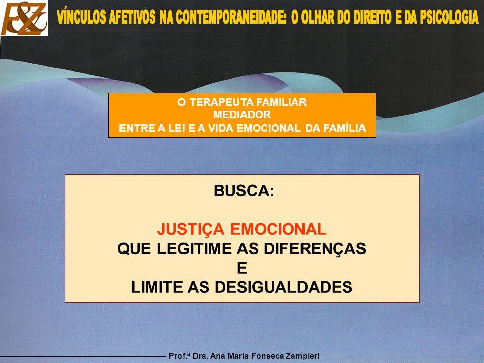Prof.ª Dra. Ana Maria Fonseca Zampieri O TERAPEUTA FAMILIAR MEDIADOR ENTRE A LEI E A VIDA EMOCIONAL DA FAMÍLIA BUSCA: JUSTIÇA EMOCIONAL QUE LEGITIME A