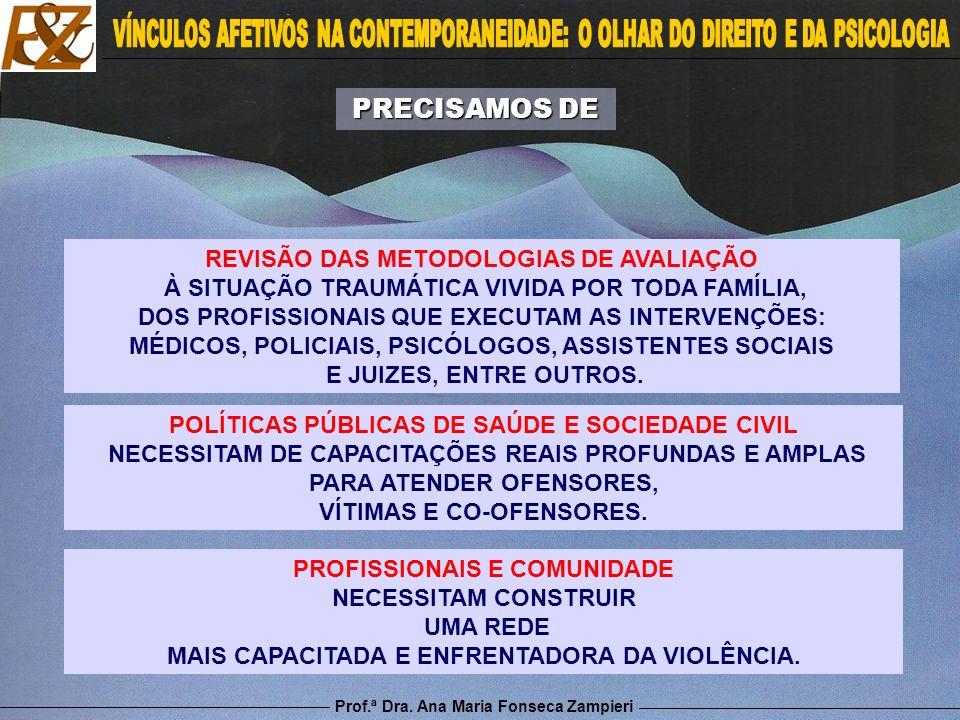 Prof.ª Dra. Ana Maria Fonseca Zampieri REVISÃO DAS METODOLOGIAS DE AVALIAÇÃO À SITUAÇÃO TRAUMÁTICA VIVIDA POR TODA FAMÍLIA, DOS PROFISSIONAIS QUE EXEC