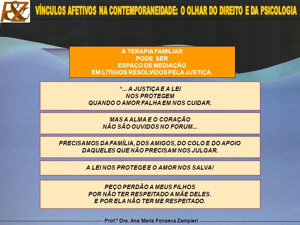 Prof.ª Dra. Ana Maria Fonseca Zampieri A TERAPIA FAMILIAR PODE SER ESPAÇO DE MEDIAÇÃO EM LITÍGIOS RESOLVIDOS PELA JUSTIÇA.... A JUSTIÇA E A LEI NOS PR