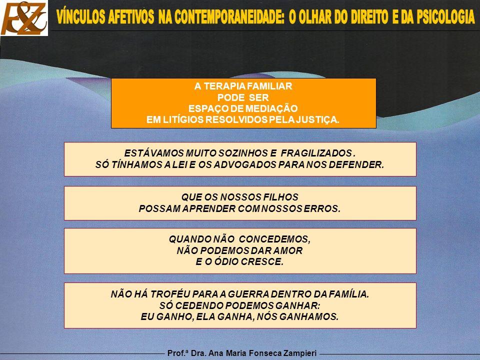 Prof.ª Dra. Ana Maria Fonseca Zampieri A TERAPIA FAMILIAR PODE SER ESPAÇO DE MEDIAÇÃO EM LITÍGIOS RESOLVIDOS PELA JUSTIÇA. ESTÁVAMOS MUITO SOZINHOS E