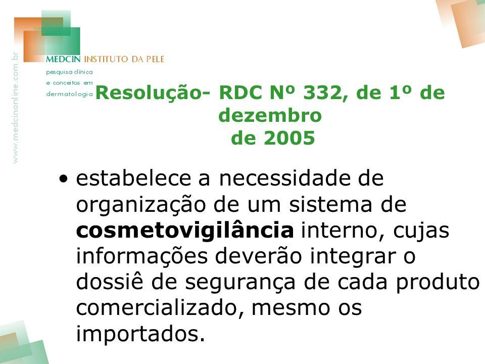Resolução- RDC Nº 332, de 1º de dezembro de 2005 estabelece a necessidade de organização de um sistema de cosmetovigilância interno, cujas informações deverão integrar o dossiê de segurança de cada produto comercializado, mesmo os importados.