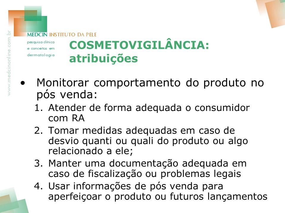 COSMETOVIGILÂNCIA: atribuições Monitorar comportamento do produto no pós venda: 1.Atender de forma adequada o consumidor com RA 2.Tomar medidas adequa