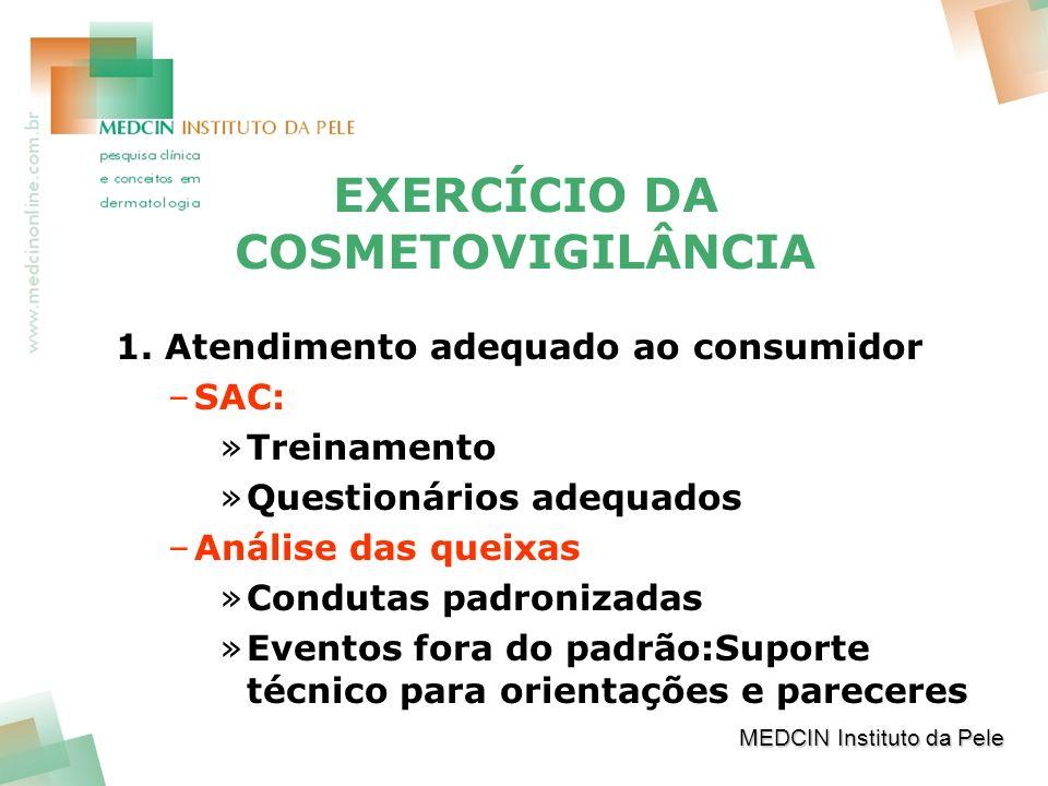 EXERCÍCIO DA COSMETOVIGILÂNCIA 1. Atendimento adequado ao consumidor –SAC: »Treinamento »Questionários adequados –Análise das queixas »Condutas padron