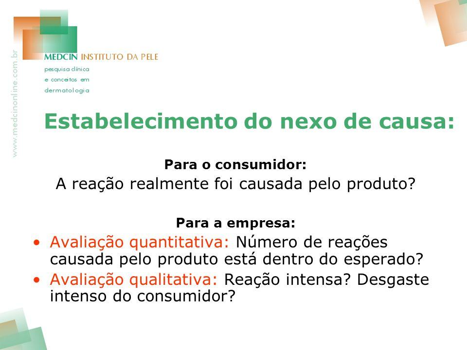 Estabelecimento do nexo de causa: Para o consumidor: A reação realmente foi causada pelo produto? Para a empresa: Avaliação quantitativa: Número de re
