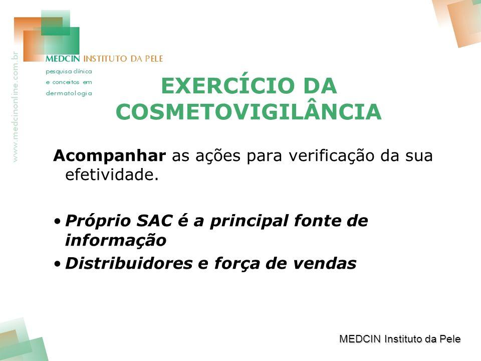 EXERCÍCIO DA COSMETOVIGILÂNCIA Acompanhar as ações para verificação da sua efetividade.