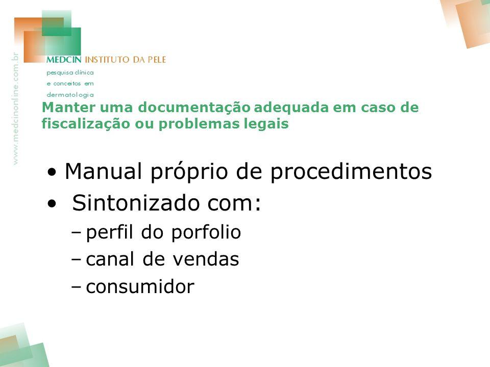 Manter uma documentação adequada em caso de fiscalização ou problemas legais Manual próprio de procedimentos Sintonizado com: –perfil do porfolio –canal de vendas –consumidor