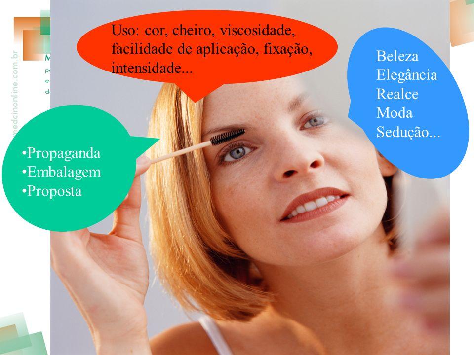 Propaganda Embalagem Proposta Uso: cor, cheiro, viscosidade, facilidade de aplicação, fixação, intensidade...