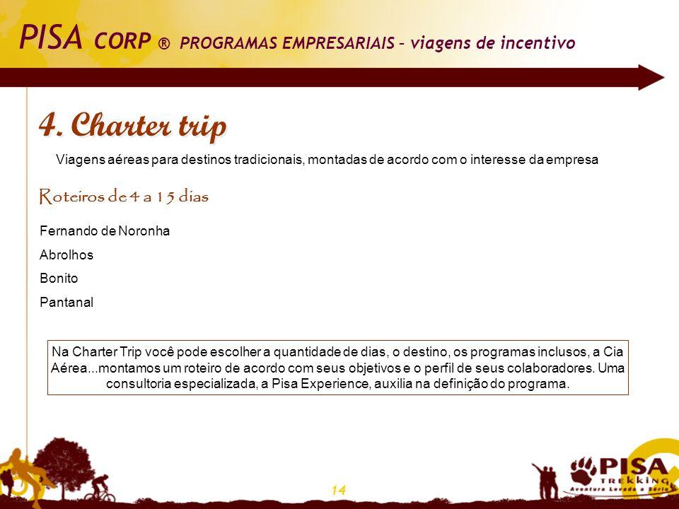 14 PISA CORP ® PROGRAMAS EMPRESARIAIS – viagens de incentivo 4. Charter trip Viagens aéreas para destinos tradicionais, montadas de acordo com o inter