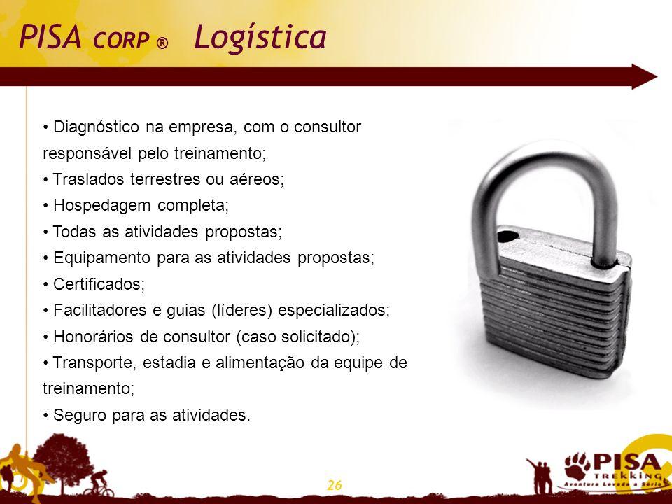 26 PISA CORP ® Logística Diagnóstico na empresa, com o consultor responsável pelo treinamento; Traslados terrestres ou aéreos; Hospedagem completa; To