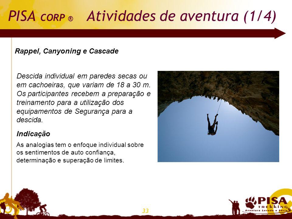 33 PISA CORP ® Atividades de aventura (1/4) Rappel, Canyoning e Cascade Descida individual em paredes secas ou em cachoeiras, que variam de 18 a 30 m.
