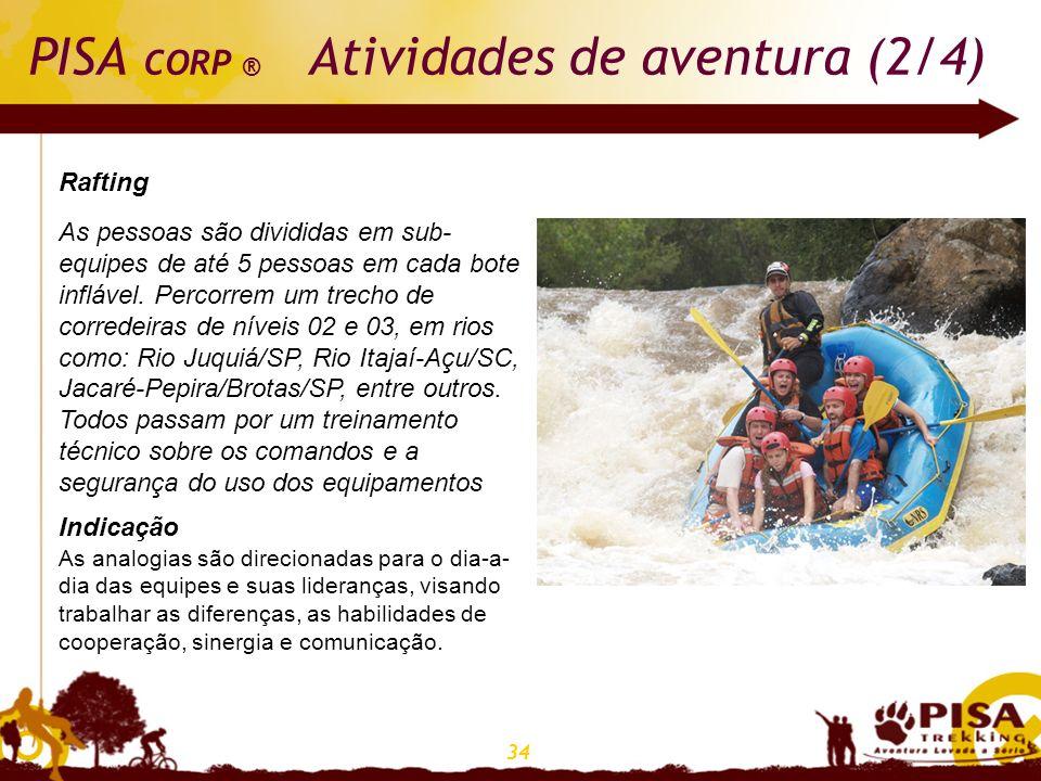 34 PISA CORP ® Atividades de aventura (2/4) Rafting As pessoas são divididas em sub- equipes de até 5 pessoas em cada bote inflável. Percorrem um trec