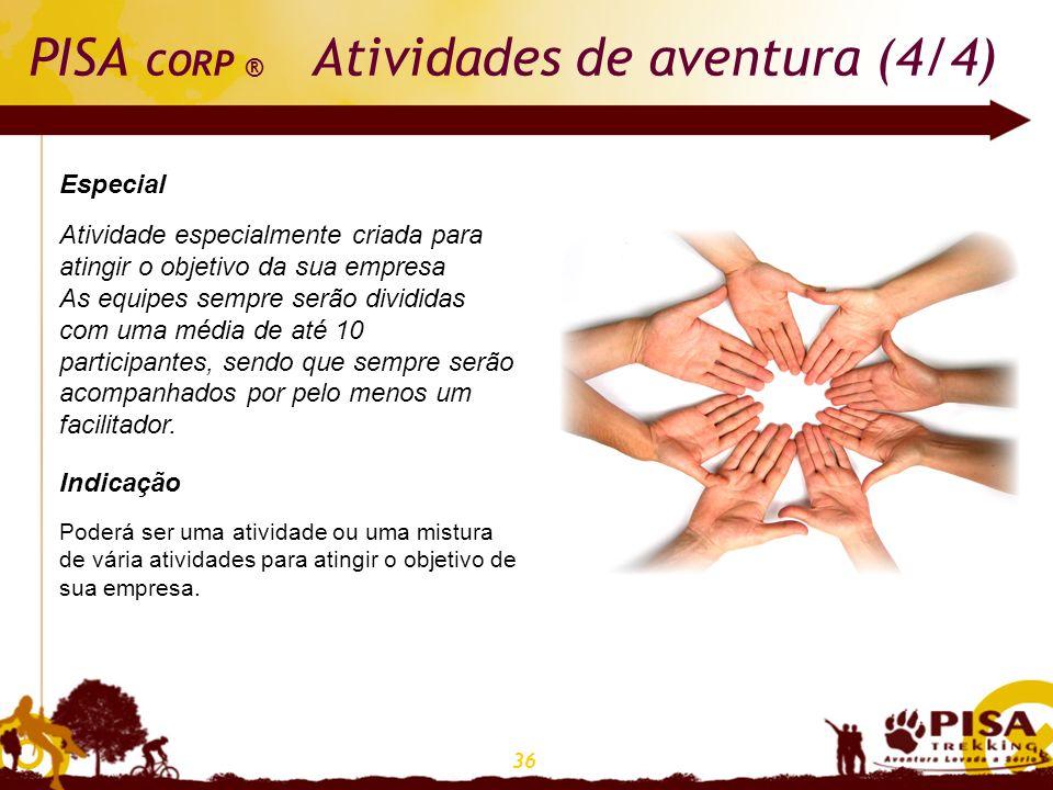 36 PISA CORP ® Atividades de aventura (4/4) Especial Atividade especialmente criada para atingir o objetivo da sua empresa As equipes sempre serão div