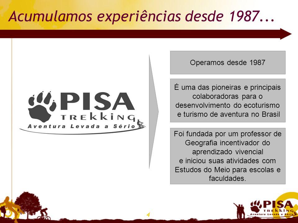 4 Acumulamos experiências desde 1987... Operamos desde 1987 É uma das pioneiras e principais colaboradoras para o desenvolvimento do ecoturismo e turi