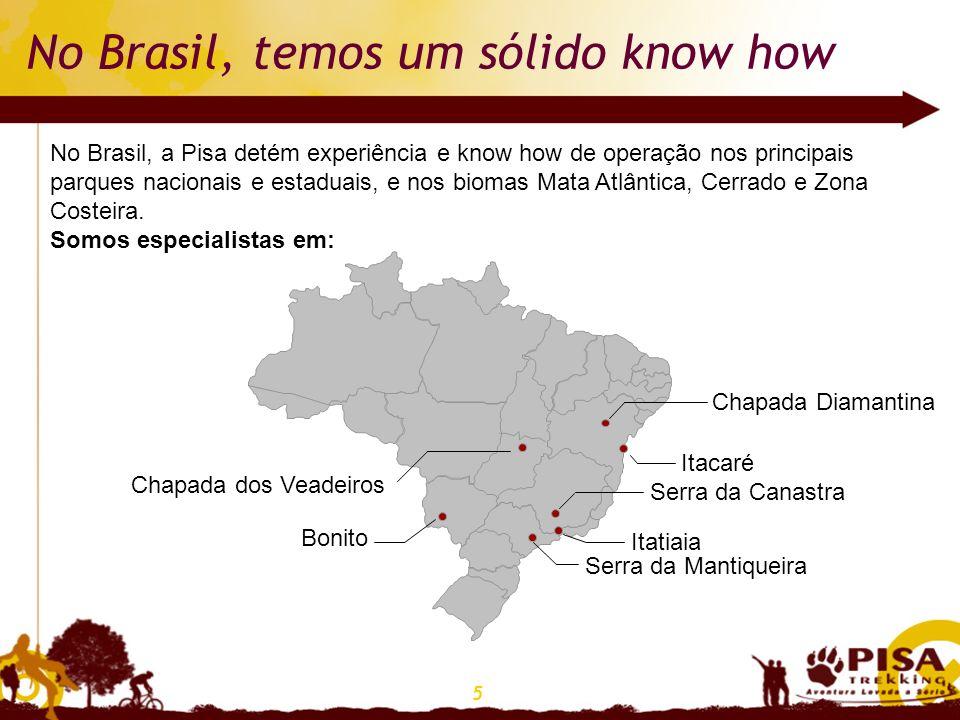 5 No Brasil, temos um sólido know how No Brasil, a Pisa detém experiência e know how de operação nos principais parques nacionais e estaduais, e nos b