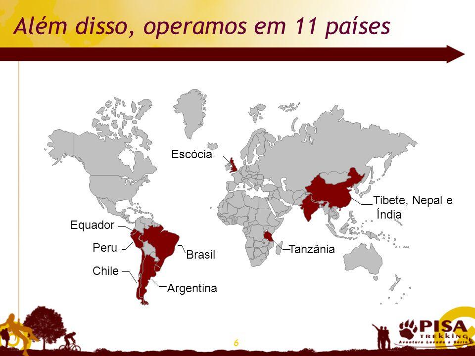 6 Além disso, operamos em 11 países Argentina Brasil Chile Equador Peru Escócia Tanzânia Tibete, Nepal e Índia