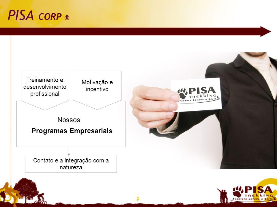 9 PISA CORP ® Treinamento e desenvolvimento profissional Programas Empresariais Nossos Motivação e incentivo Contato e a integração com a natureza