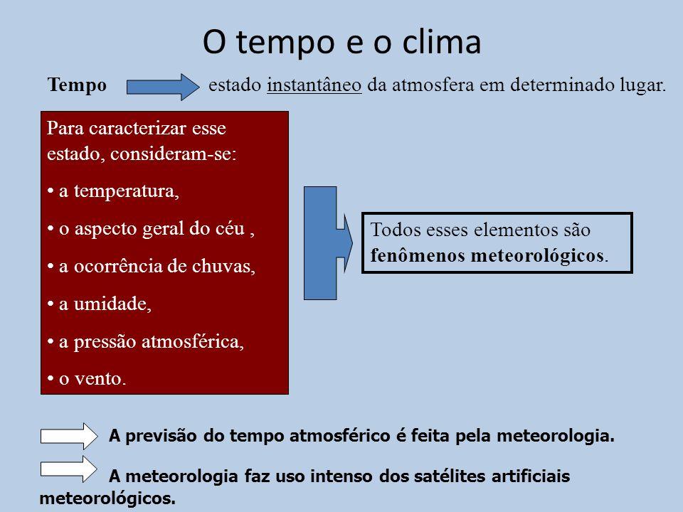 O tempo e o clima A previsão do tempo atmosférico é feita pela meteorologia. A meteorologia faz uso intenso dos satélites artificiais meteorológicos.