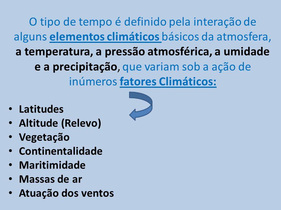 O tipo de tempo é definido pela interação de alguns elementos climáticos básicos da atmosfera, a temperatura, a pressão atmosférica, a umidade e a pre