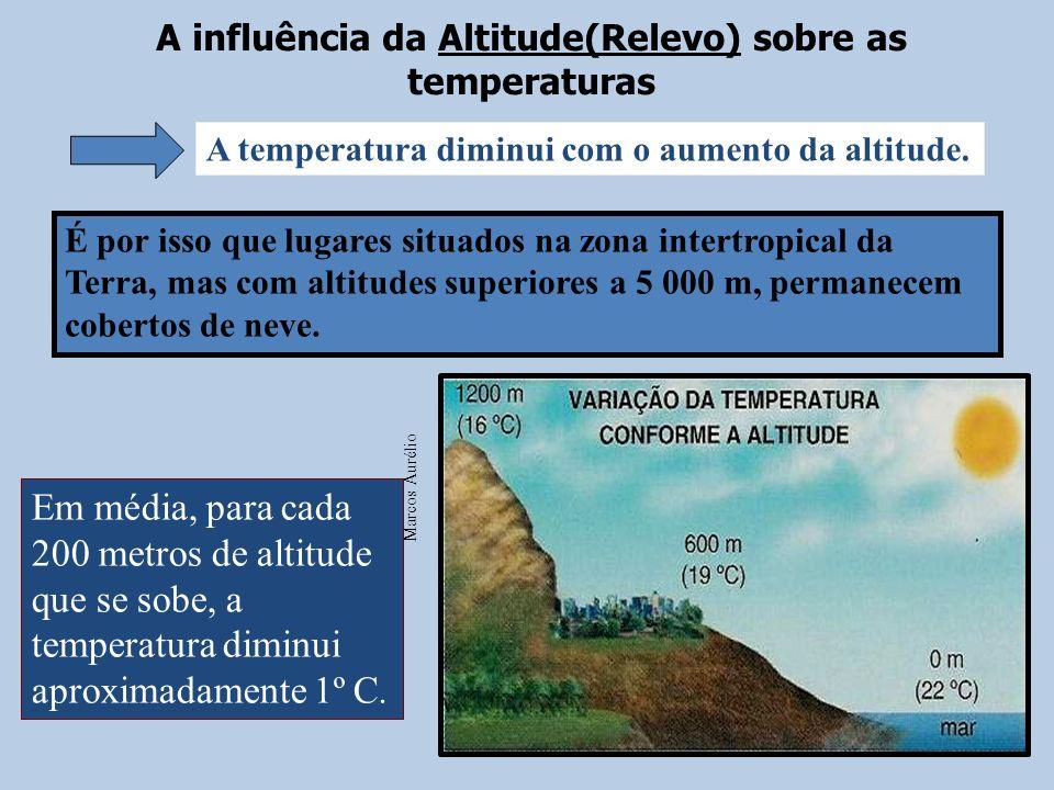 A influência da Altitude(Relevo) sobre as temperaturas É por isso que lugares situados na zona intertropical da Terra, mas com altitudes superiores a 5 000 m, permanecem cobertos de neve.
