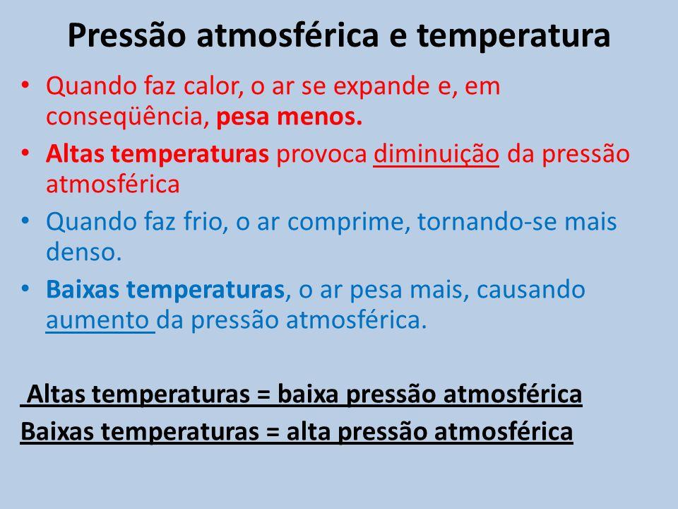Pressão atmosférica e temperatura Quando faz calor, o ar se expande e, em conseqüência, pesa menos. Altas temperaturas provoca diminuição da pressão a