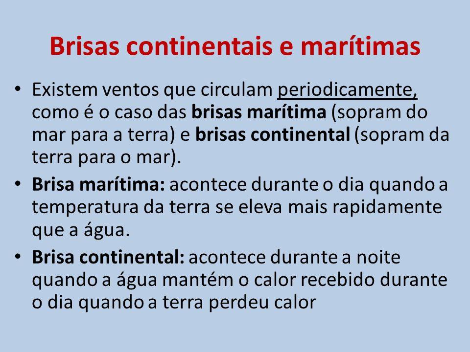 Brisas continentais e marítimas Existem ventos que circulam periodicamente, como é o caso das brisas marítima (sopram do mar para a terra) e brisas co