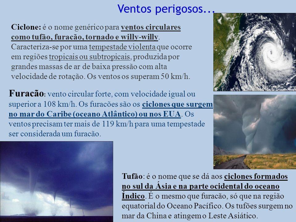 Ciclone: é o nome genérico para ventos circulares como tufão, furacão, tornado e willy-willy. Caracteriza-se por uma tempestade violenta que ocorre em