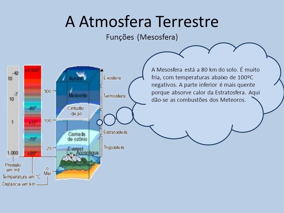A Atmosfera Terrestre Funções (Mesosfera) A Mesosfera está a 80 km do solo. É muito fria, com temperaturas abaixo de 100ºC negativos. A parte inferior