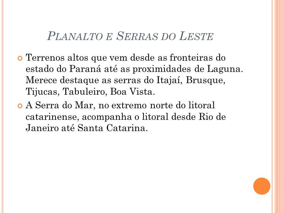 P LANALTO E S ERRAS DO L ESTE Terrenos altos que vem desde as fronteiras do estado do Paraná até as proximidades de Laguna.