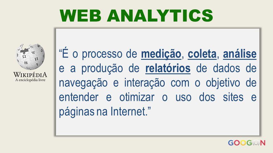 WEB ANALYTICS É o processo de medição, coleta, análise e a produção de relatórios de dados de navegação e interação com o objetivo de entender e otimizar o uso dos sites e páginas na Internet.