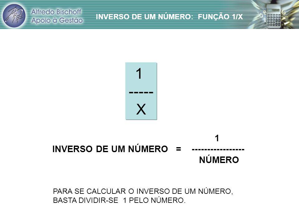1 ----- X 1 INVERSO DE UM NÚMERO = ----------------- NÚMERO PARA SE CALCULAR O INVERSO DE UM NÚMERO, BASTA DIVIDIR-SE 1 PELO NÚMERO.