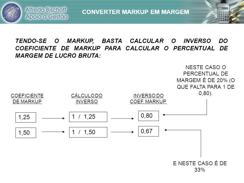 CONVERTER MARKUP EM MARGEM TENDO-SE O MARKUP, BASTA CALCULAR O INVERSO DO COEFICIENTE DE MARKUP PARA CALCULAR O PERCENTUAL DE MARGEM DE LUCRO BRUTA: 1,25 1,50 1 / 1,25 1 / 1,50 0,80 0,67 COEFICIENTE DE MARKUP CÁLCULO DO INVERSO INVERSO DO COEF.