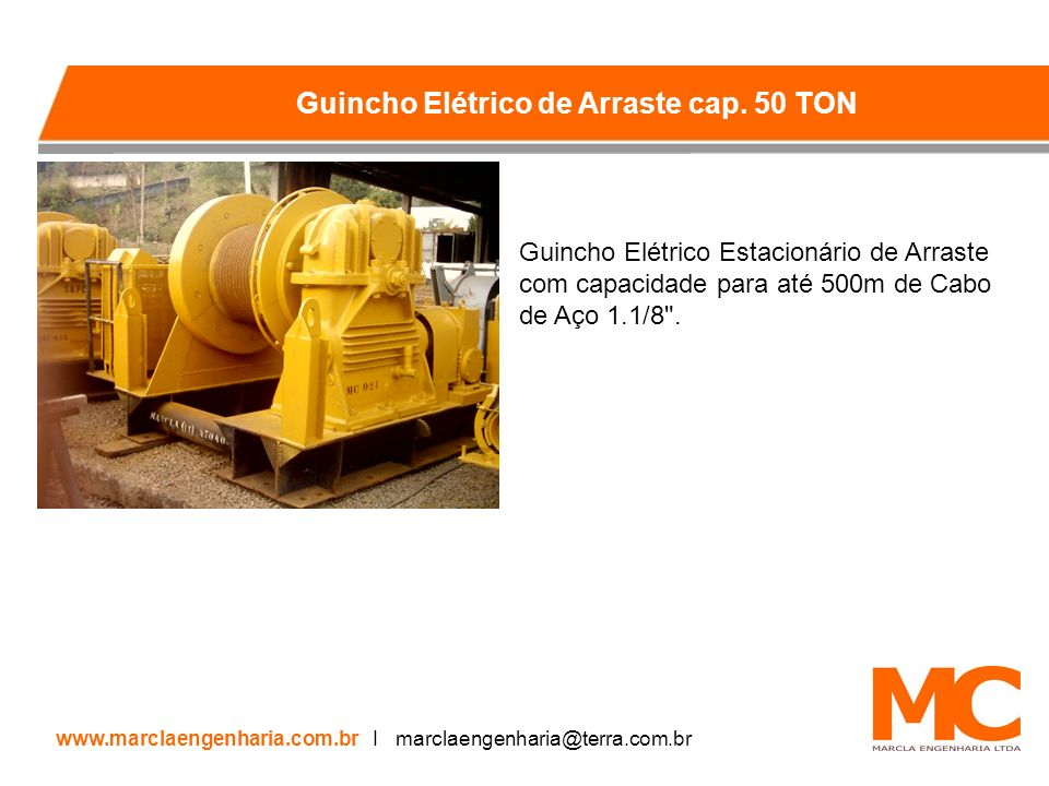 Guincho Elétrico Estacionário de Arraste com capacidade para até 500m de Cabo de Aço 1.1/8