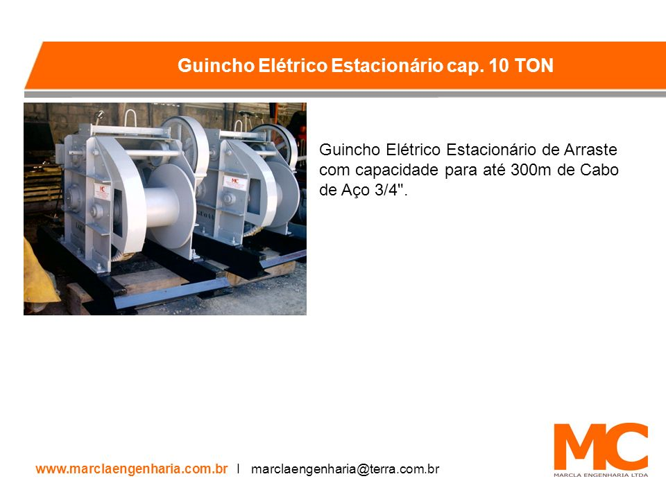 Guincho Elétrico Estacionário de Arraste com capacidade para até 300m de Cabo de Aço 3/4