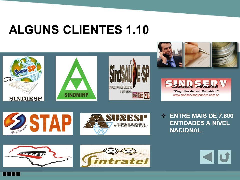 ALGUNS CLIENTES 1.10 ENTRE MAIS DE 7.800 ENTIDADES A NÍVEL NACIONAL.