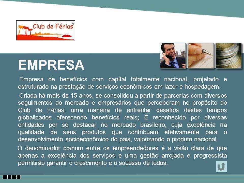 EMPRESA Empresa de benefícios com capital totalmente nacional, projetado e estruturado na prestação de serviços econômicos em lazer e hospedagem. Cria