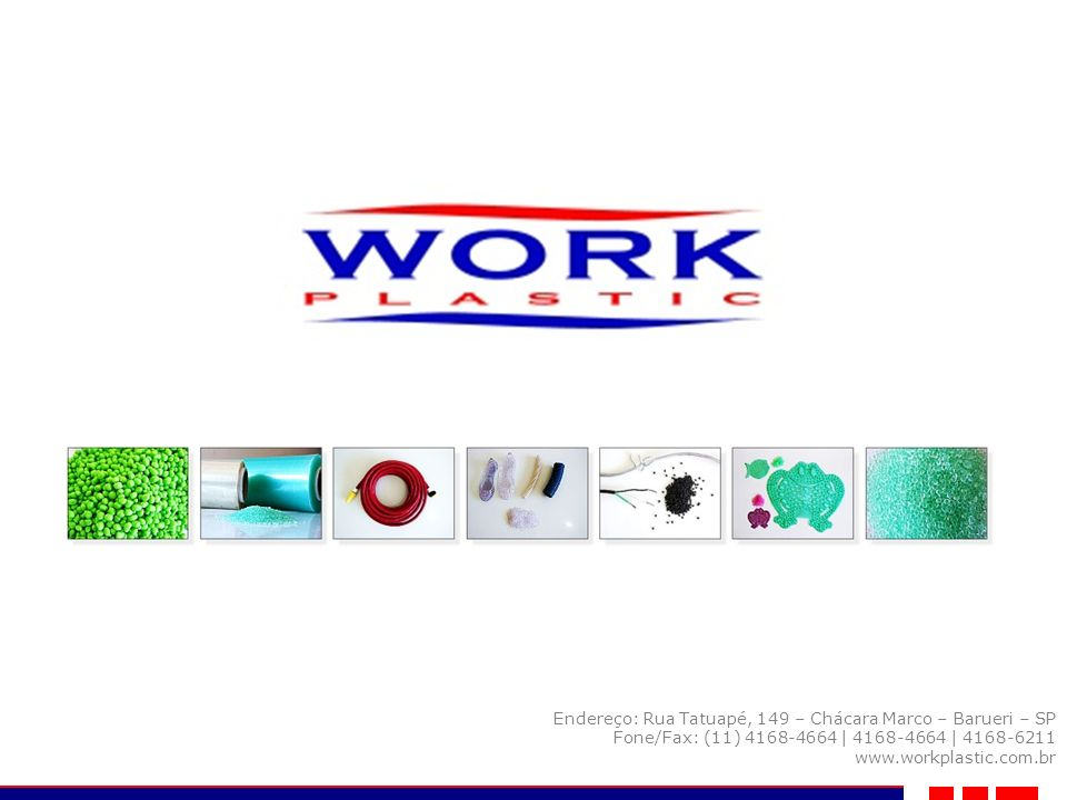 A Work Plastic Indústria e Comércio de Plásticos Ltda., é uma empresa com mais de 20 anos de experiência no ramo de produzir e comercializar COMPOSTOS de PVC para os mais diversos segmentos.
