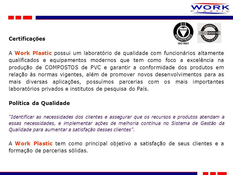 Certificações A Work Plastic possui um laboratório de qualidade com funcionários altamente qualificados e equipamentos modernos que tem como foco a excelência na produção de COMPOSTOS de PVC e garantir a conformidade dos produtos em relação às normas vigentes, além de promover novos desenvolvimentos para as mais diversas aplicações, possuímos parcerias com os mais importantes laboratórios privados e institutos de pesquisa do País.