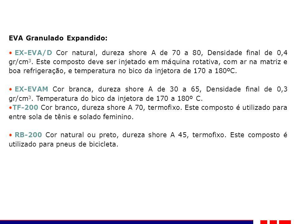 EVA Granulado Expandido: EX-EVA/D Cor natural, dureza shore A de 70 a 80, Densidade final de 0,4 gr/cm 3. Este composto deve ser injetado em máquina r