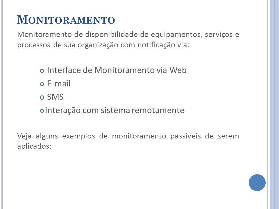 M ONITORAMENTO Monitoramento de disponibilidade de equipamentos, serviços e processos de sua organização com notificação via: Interface de Monitoramento via Web E-mail SMS Interação com sistema remotamente Veja alguns exemplos de monitoramento passiveis de serem aplicados: