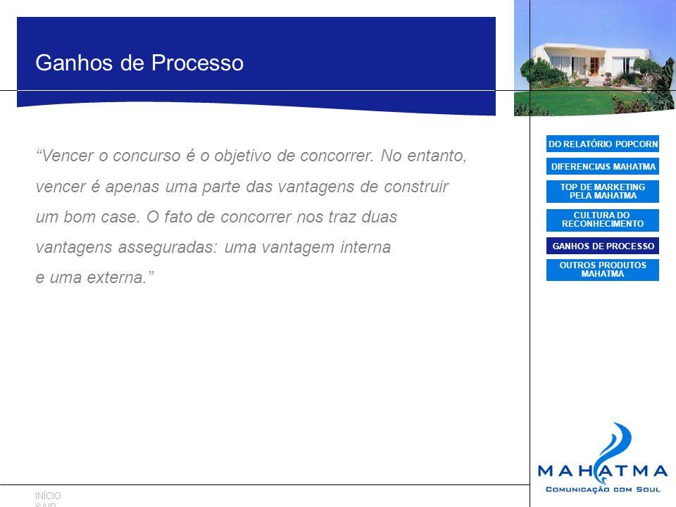 DO RELATÓRIO POPCORN DIFERENCIAIS MAHATMA TOP DE MARKETING PELA MAHATMA CULTURA DO RECONHECIMENTO GANHOS DE PROCESSO OUTROS PRODUTOS MAHATMA Ganhos de