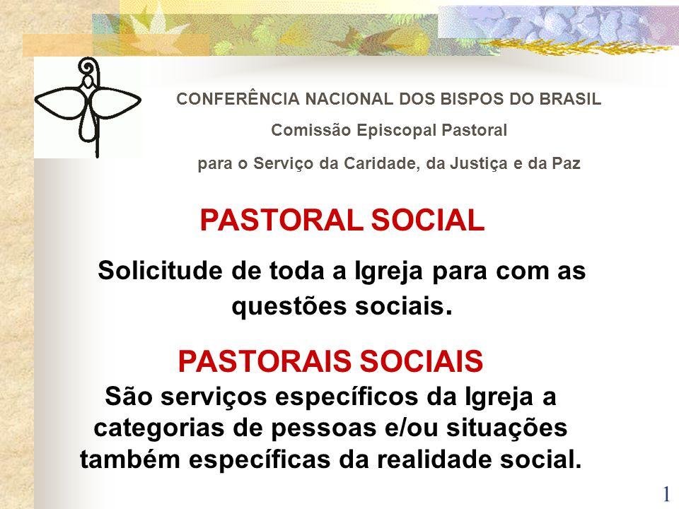 1 CONFERÊNCIA NACIONAL DOS BISPOS DO BRASIL Comissão Episcopal Pastoral para o Serviço da Caridade, da Justiça e da Paz PASTORAL SOCIAL Solicitude de