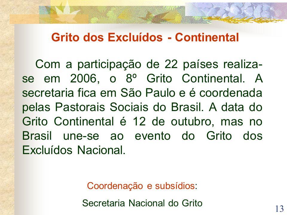 13 Grito dos Excluídos - Continental Com a participação de 22 países realiza- se em 2006, o 8º Grito Continental. A secretaria fica em São Paulo e é c