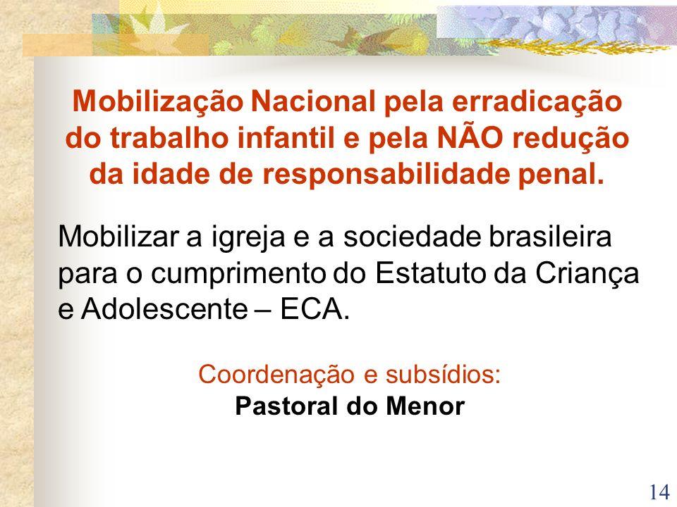 14 Mobilização Nacional pela erradicação do trabalho infantil e pela NÃO redução da idade de responsabilidade penal. Mobilizar a igreja e a sociedade
